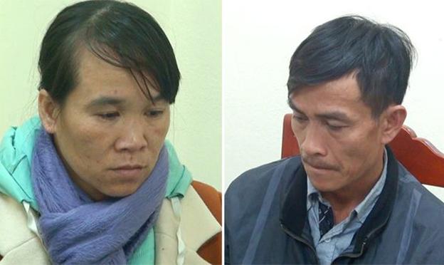 Lê Văn Trình và Lò Thị Chung tại cơ quan công an