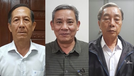 Bị cáo Huỳnh Kim Phát, Lê Văn Thanh, Lê Tôn Thanh (từ trái sang phải)