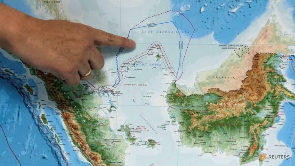 Vị trí của Biển Bắc Natuna trên bản đồ mới của Indonesia.