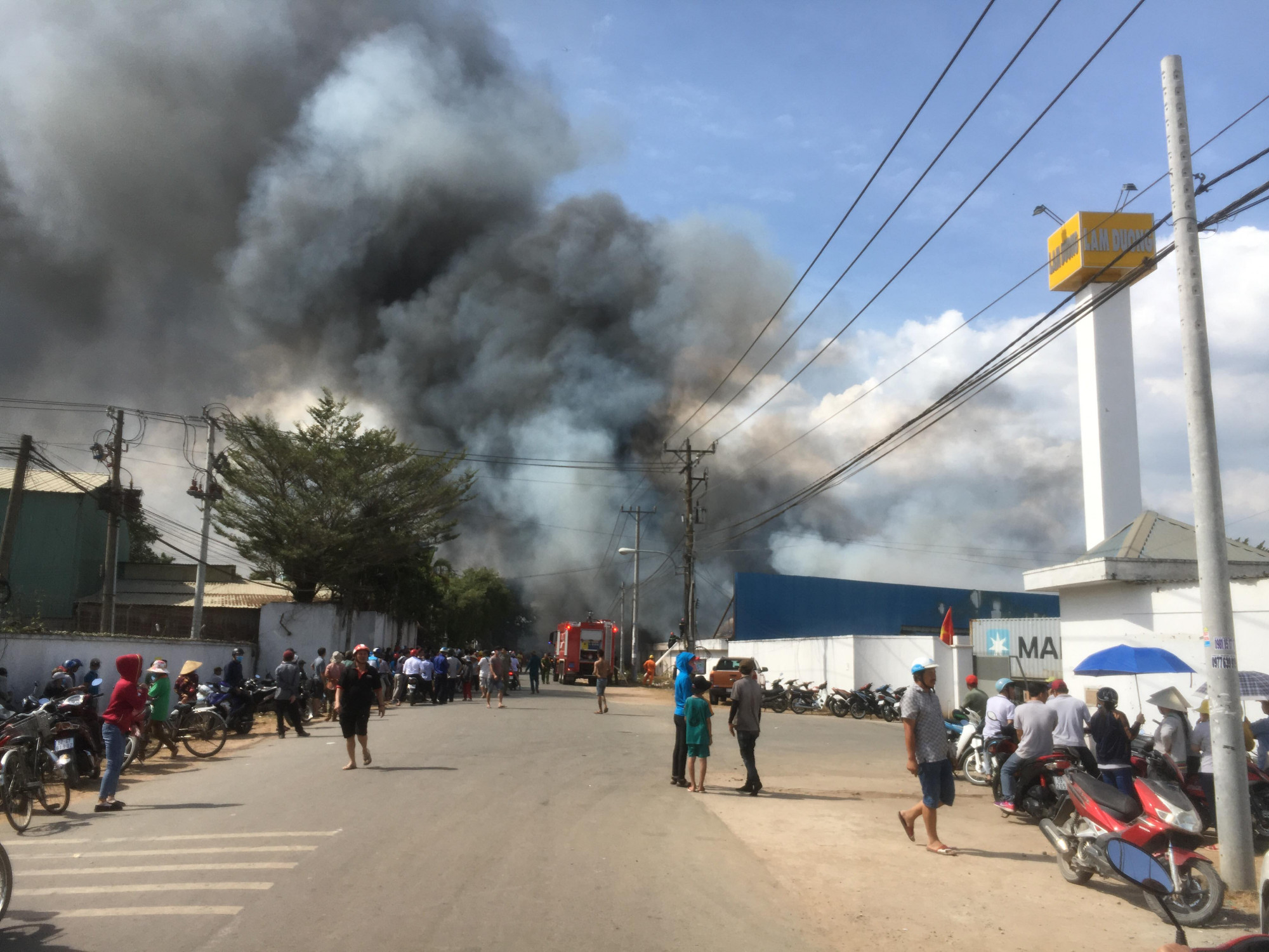 Ngọn lửa bao trùm công ty gỗ chỉ trong chốc lát