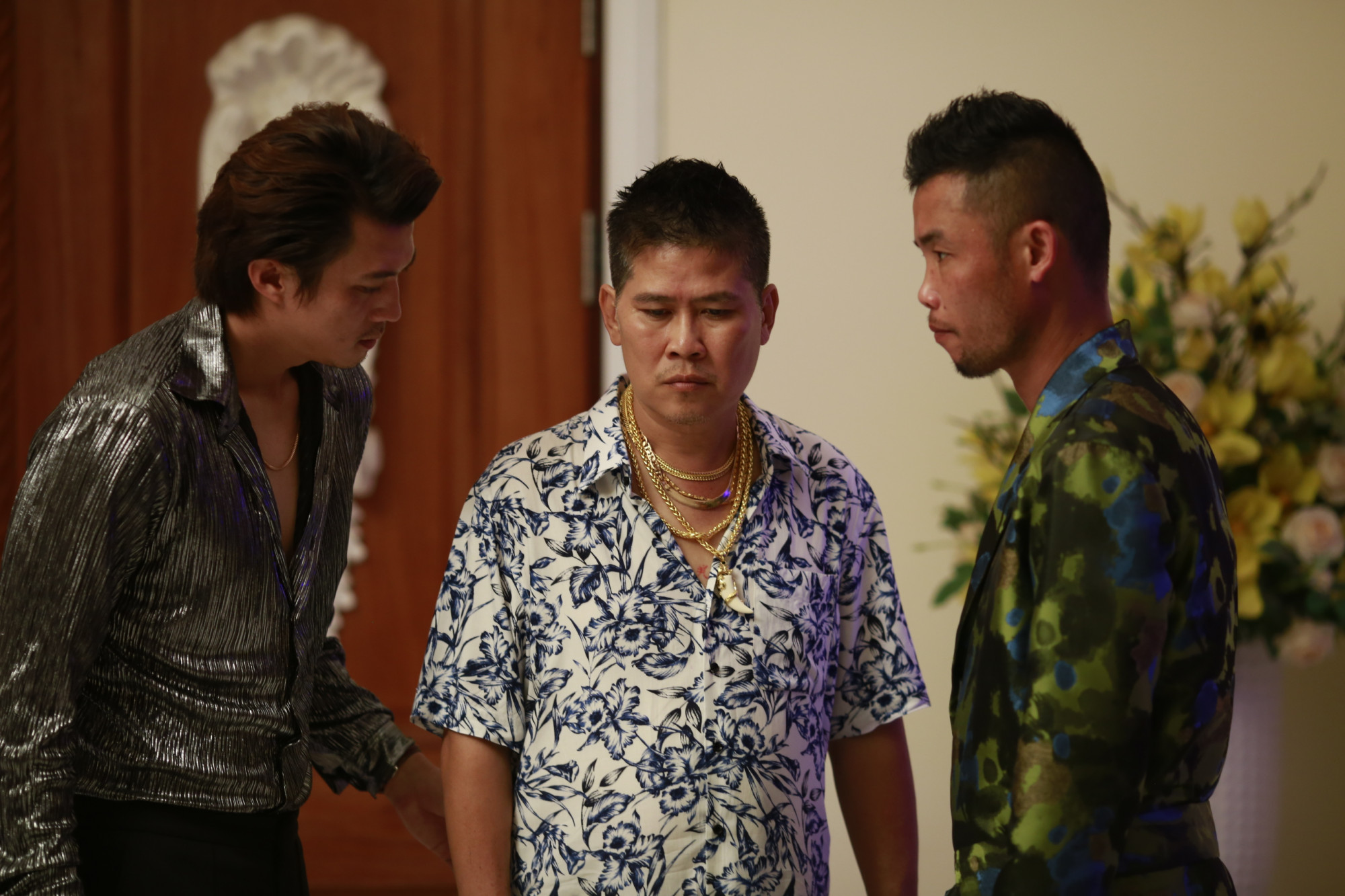 3 nam diễn viên chính của phim (từ trái sang gồm Hà Việt Dũng, Phước Sang và Hiệp Gà