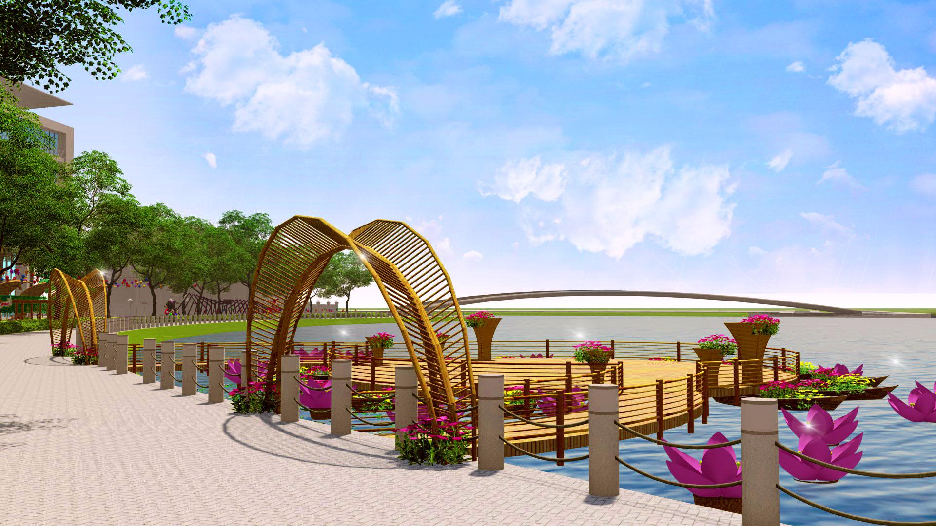 Phối cảnh sân khấu trên mặt Hồ Bán Nguyệt