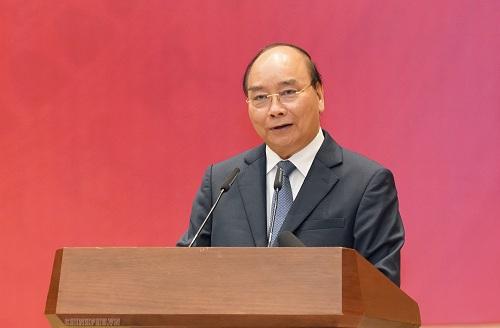Thủ tướng Nguyễn Xuân Phúc phát biểu tại hội nghị tổng kết công tác dân vận 2019 và triển khai nhiệm vụ 2020. Ảnh: VGP