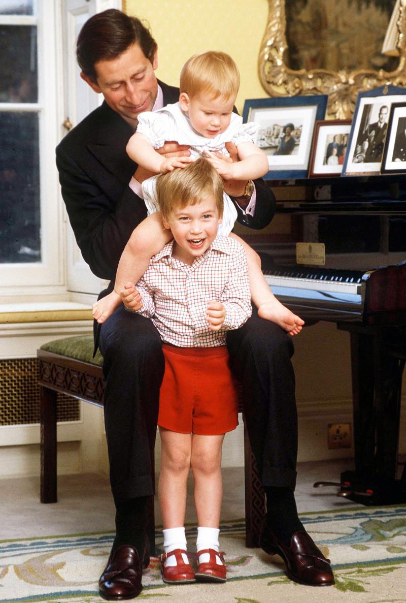 Bức ảnh được chụp năm 1985 tại Cung điện Kensington, Hoàng tử William và Harry chơi đùa bên cha là Thái tử Charles. Harry thậm chí ngồi trên vai anh trai đầy thích thú.