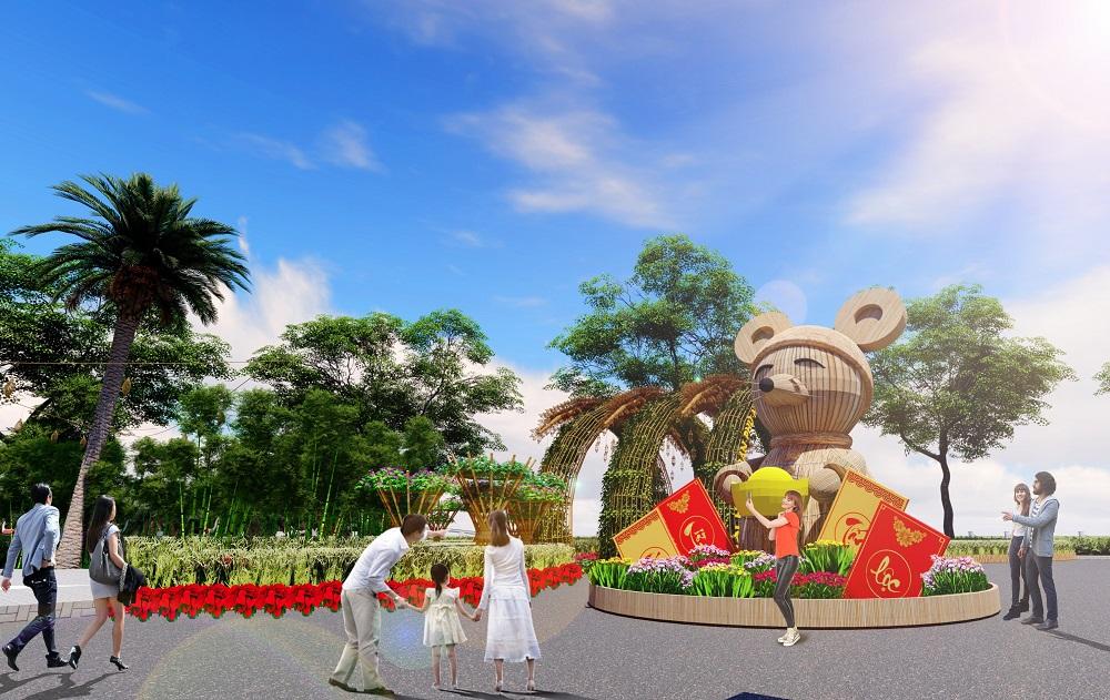 Tiểu cảnh chuột tài lộc khổng lồ nằm ngay cổng vào Hội hoa xuân Phú Mỹ Hưng tết Canh Tý, mô phỏng một vị thần tài, tay ôm thỏi vàng, như một lời chúc năm mới sung túc, ấm no