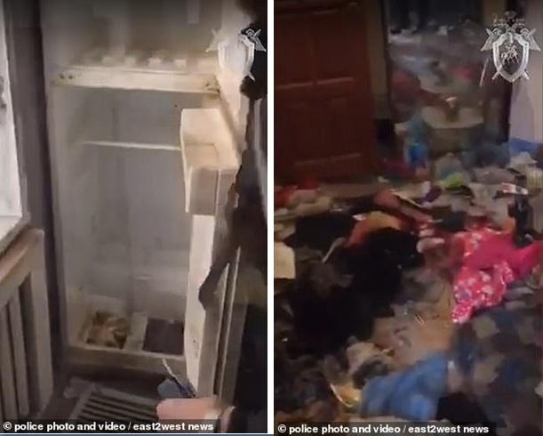 Hình ảnh từ video do cảnh sát cung cấp cho thấy căn nhà nơi bé gái được tìm thấy với sự bừa bộn, đầy rác và không có thức ăn, nước uống.