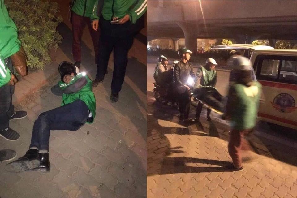 Shipper ngất xỉu trên đường đi giao hàng được đồng nghiệp đưa đi cấp cứu. Ảnh từ Facebook