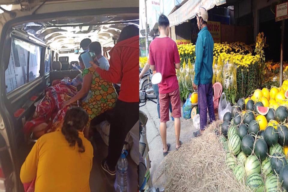 Ông Hùng bị đột quỵ qua đời khi đang bán hoa tết cùng vợ con. Nhiều người biết chuyện đã đến mua hoa và dưa hấu