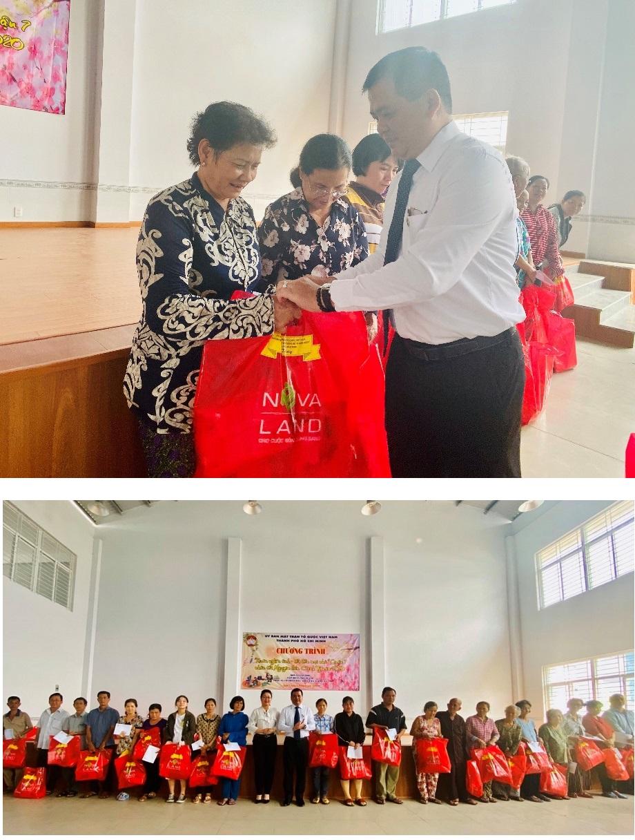 Phối hợp cùng Quỹ Vì người nghèo - Ủy ban MTTQVN TP.HCM, Tập đoàn Novaland đã trao tặng hơn 500 phần quà đến các hộ gia đình có hoàn cảnh khó khăn tại Q.7, Q.4 (TP.HCM)