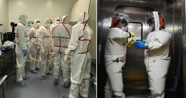 Hình ảnh cho thấy Phòng thí nghiệm an toàn sinh học quốc gia Vũ Hán có các quy trình xử lý chuyên môn rất nghiêm ngặt, bao gồm khử trùng bắt buộc và các thiết b5i bảo hộ cần thiết.