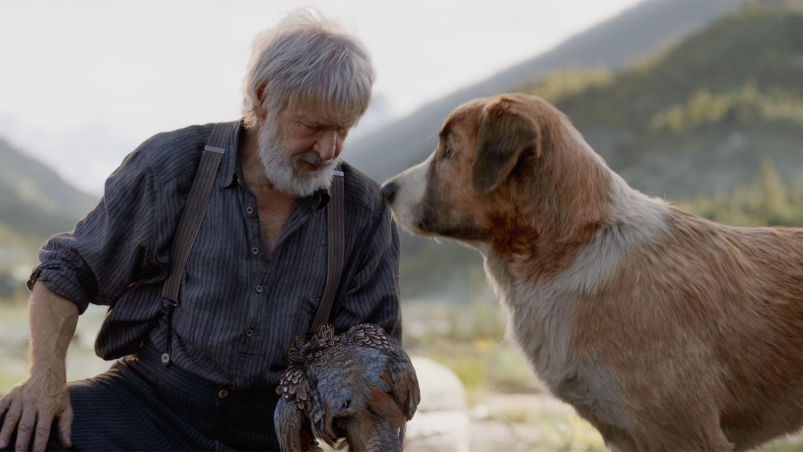 Nam diễn viên gạo cội Harrison Ford bên cạnh chú chó được tạo hình từ công nghệ CGI.
