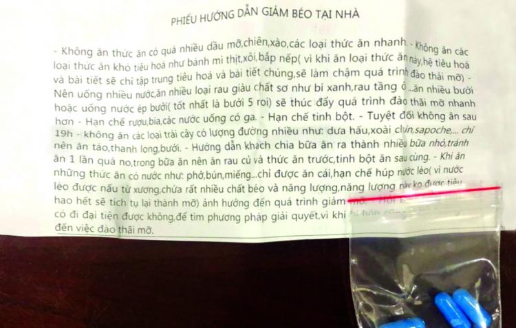 Túi thuốc anh M. được một spa phát cho để uống giảm cân không có nhãn mác