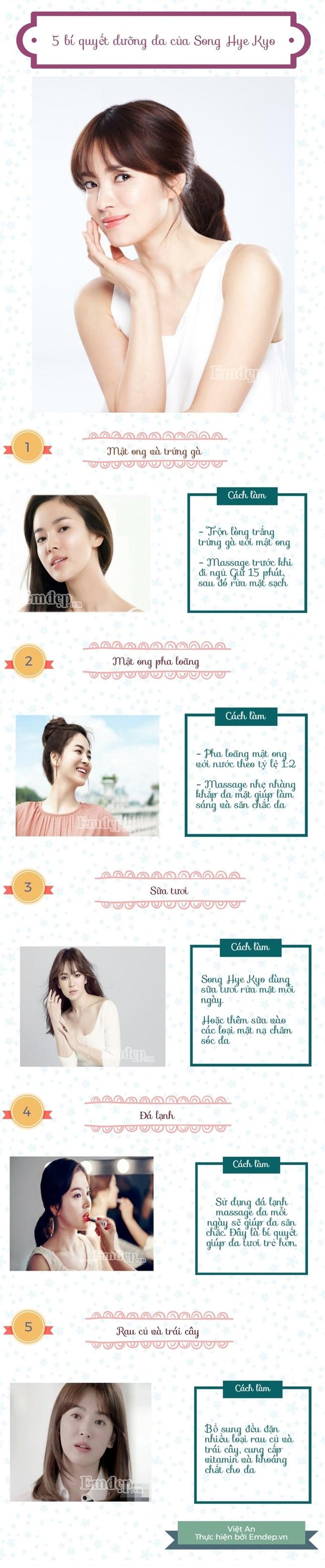 Tai sao da Song Hye Kyo luon trang min, khong ty vet?