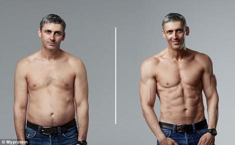 Ông bố 45 tuổi lấy dáng chuẩn soái ca 6 múi sau 12 tuần