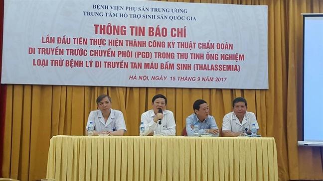Lan dau tien thu tinh ong nghiem loai tru duoc benh di truyen Thalassemia