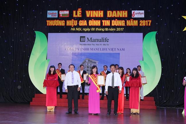 Manulife Viet Nam tiep tuc la 'doanh nghiep xuat sac ve chi so hai long khach hang' va duoc vinh danh 'thuong hieu gia dinh tin dung'