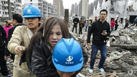 Hiện trường tan hoang của vụ nổ tại thành phố Ninh Ba