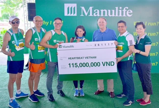 Manulife Viet Nam dong gop gan 700 trieu cho to chuc Nhip tim Viet Nam va dong hanh giai marathon quoc te TPHCM Techcombank 2017