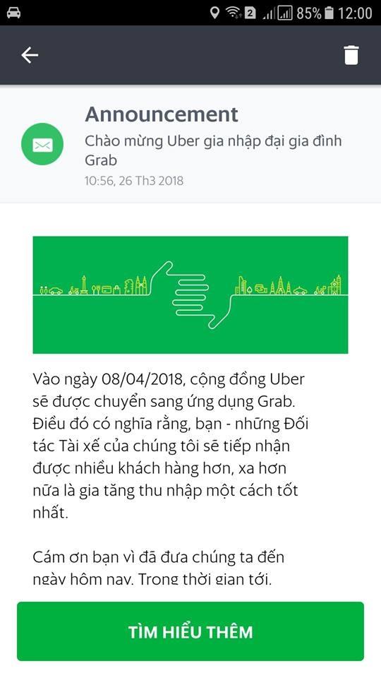 Tai xe Uber tai Viet Nam se chuyen sang Grab hoat dong tu 8/4