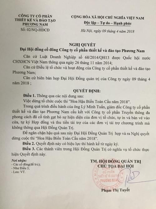 Cuc NTBD yeu cau BTC Hoa hau Bien Viet Nam Toan cau 2018 giai trinh