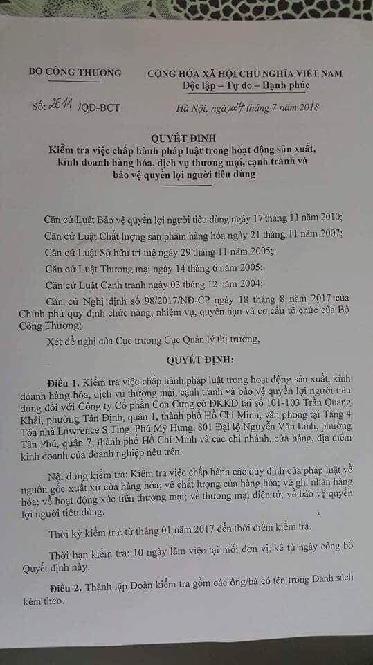 Bo Cong thuong de nghi mo rong kiem tra hoat dong Cong ty Con Cung