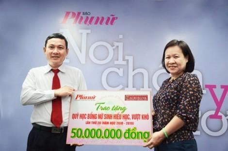 Agribank Lý Thường Kiệt, Q.10 hỗ trợ quỹ học bổng Báo Phụ Nữ TP.HCM 50 triệu đồng