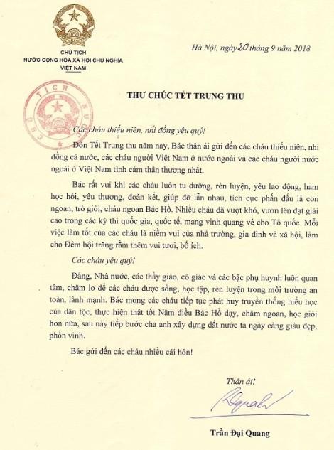 Bức thư cuối cùng của Chủ tịch nước Trần Đại Quang