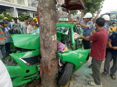 Taxi Mai Linh ủi đuôi xe cùng hãng, rồi tông thẳng gốc cây