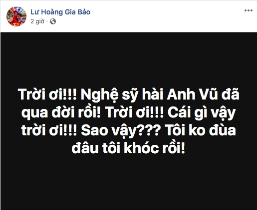 Cac nghe si xot thuong truoc su ra di dot ngot cua dien vien hai Anh Vu