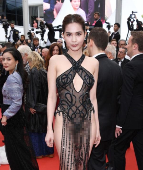 Chuyen Ngoc Trinh 'khoe da' tai Cannes 2019...