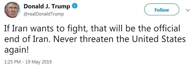 Iran dap tra My sau loi de doa chien tranh tu Tong thong Trump