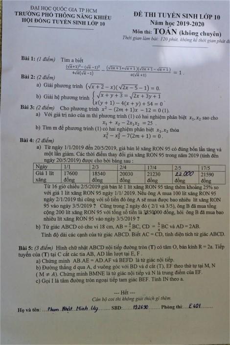 Giá xăng tăng vào đề thi toán tuyển sinh lớp Mười