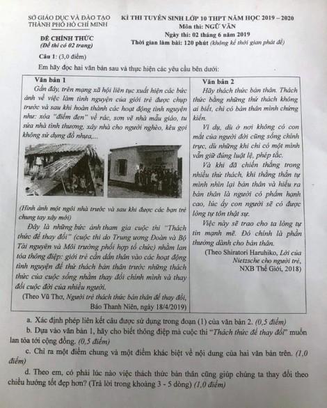 Gợi ý giải đề thi môn văn tuyển sinh lớp 10 TP.HCM