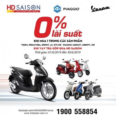Lãi suất 0%, dễ dàng sắm xe Piaggio
