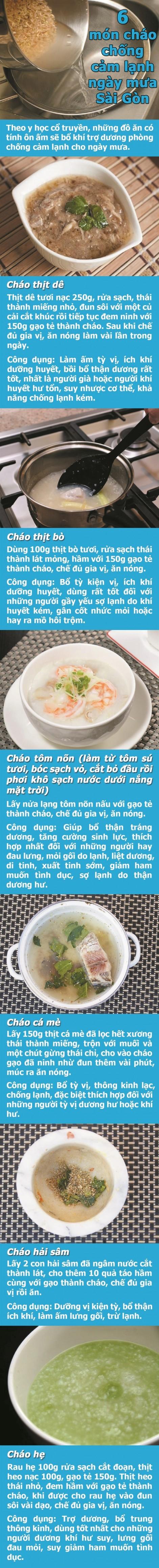 6 món cháo chống cảm lạnh ngày mưa Sài Gòn