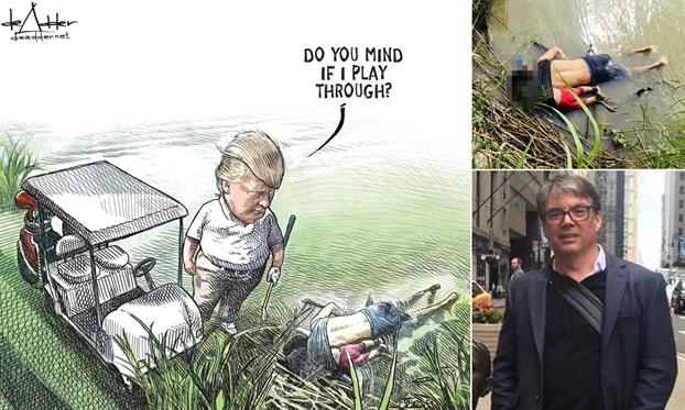 Hoa si biem 'gap hoa' vi tranh ve Tong thong Trump