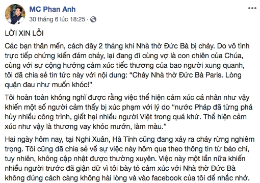 Tu chuyen MC Phan Anh xin loi sau vu chay rung o Ha Tinh