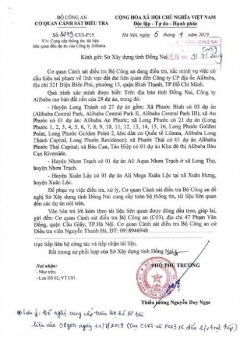 Bộ Công an triệu tập em trai Chủ tịch địa ốc Alibaba Nguyễn Thái Lĩnh, tập hợp hồ sơ 29 dự án ở Đồng Nai