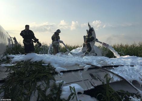 Máy bay Nga hạ cánh khẩn xuống cánh đồng bắp vì va phải đàn chim