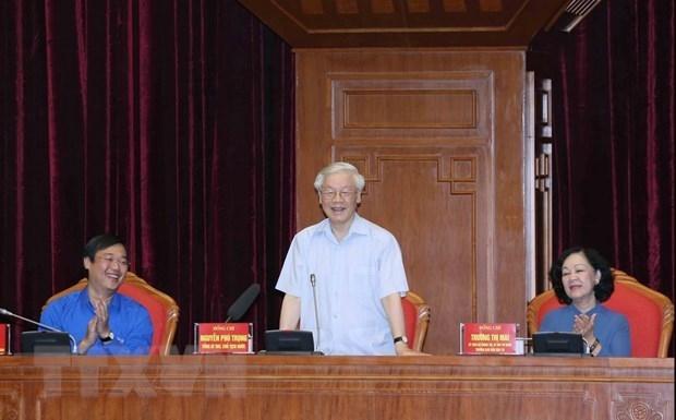 Tong bi thu, Chu tich nuoc Nguyen Phu Trong giao nhiem vu cho cac dang vien tre: phan dau vao Ban chap hanh Trung uong Dang