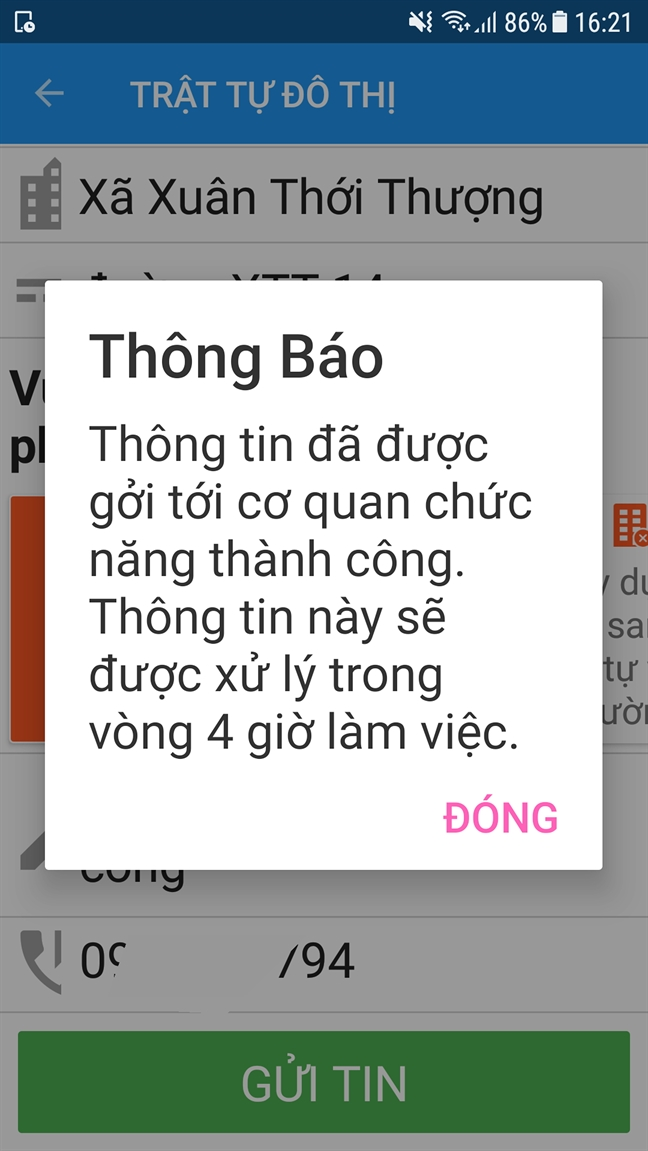 Thong tin nay se duoc xu ly trong vong 4 gio