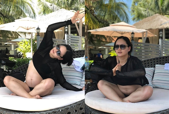 Sao Viet tap the thao de giũ dáng khi mang bau