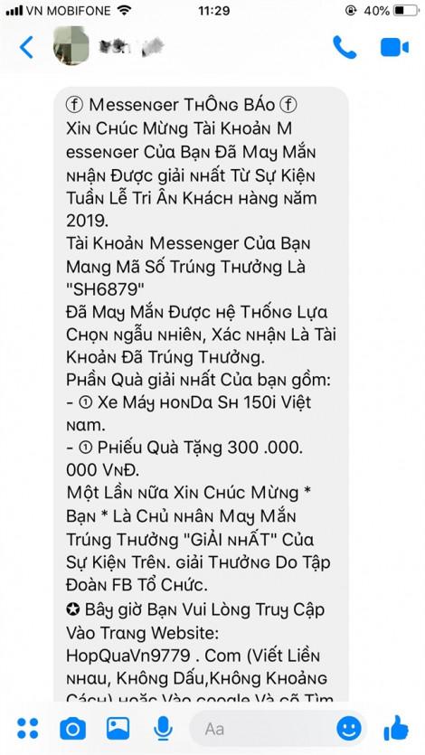 Những tin nhắn khiến người dùng Facebook, Zalo... mất hàng chục triệu đồng trong vài phút