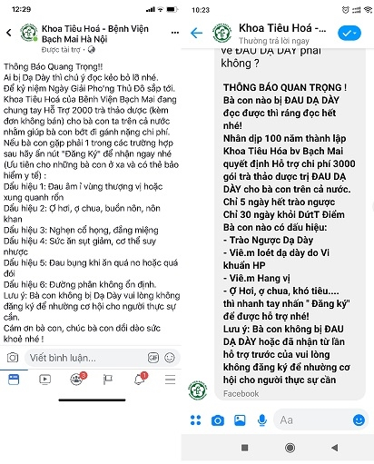 Vach mat trang Facebook gia danh Benh vien Bach Mai lua benh nhan mua tra thao duoc tri dau da day
