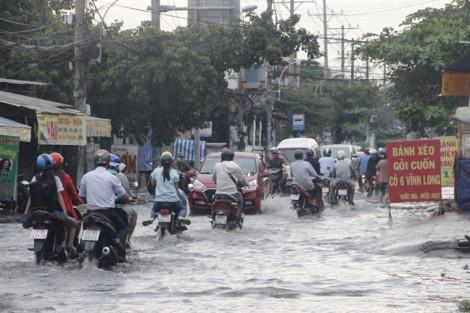 Con đường nửa tháng ngập cả chục lần, vừa mưa dân đã phải đắp đê trước nhà