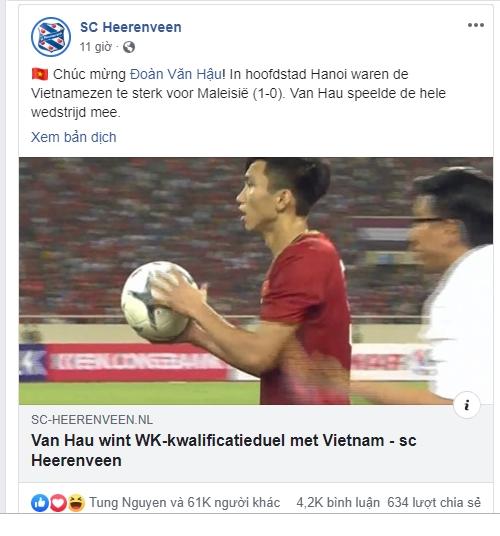 Cau lac bo Ha Lan SC Heerenveen chuc mung Doan Van Hau tren Facebook