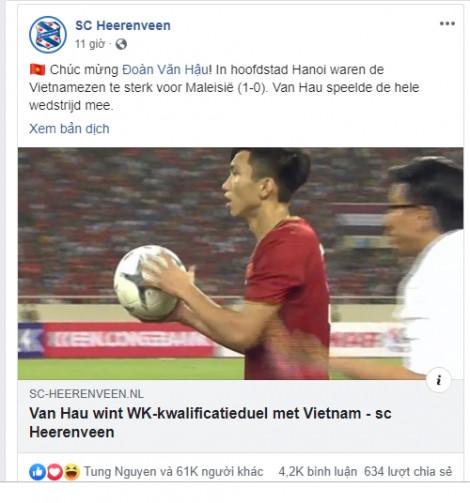 Câu lạc bộ Hà Lan SC Heerenveen chúc mừng Đoàn Văn Hậu trên Facebook