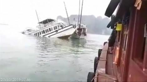 Tàu du lịch va tàu chở đá, chìm trên biển Hạ Long