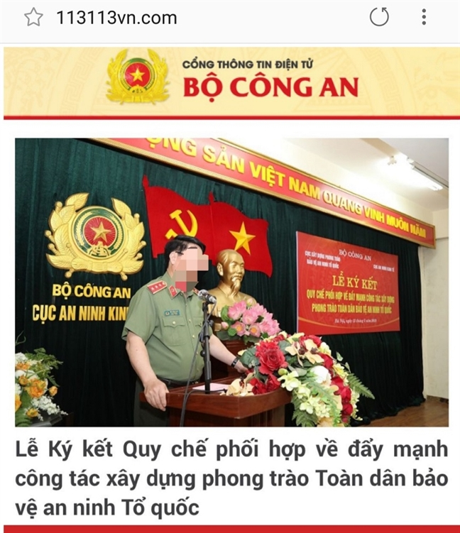 Phat hien trang web gia danh Bo Cong an, chua ma doc