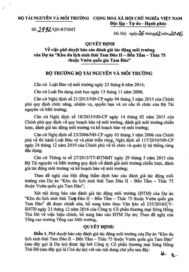 Du an Tam Dao II: Xay dung khi DTM chua duyet, uy vien hoi dong tham dinh noi  'co van de gi dau'!
